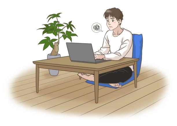 顔をしかめた遠隔労働または遠隔学習の若者 - 大学生 パソコン 日本点のイラスト素材/クリップアート素材/マンガ素材/アイコン素材