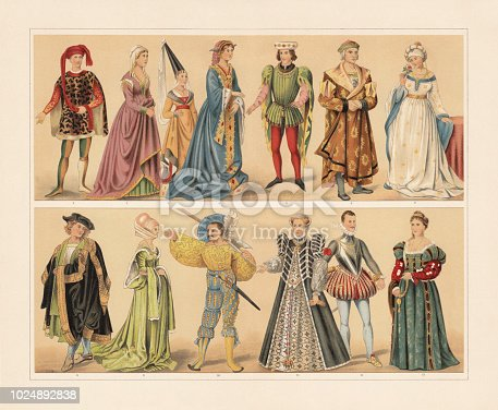 Renaissance cosumes (15th and 16th century): 1 -2) Florentine nobleman and noblewoman (15th century); 3) Joanna of Flanders (1341); 4) Burgundian noblewoman (15th century); 5) French nobleman (1410); 6 - 7) German citizens (1480); 8) Nuremberg citizen (1500); 9) Nuremberg woman, going to the dance (1500); 10) Lansquenet (1530); 11) Catherine de' Medici, Queen of France (1545); 12) John of Austria (1547 - 1578); 13) Venetian noblewoman (after Titian's