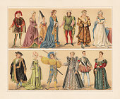 Renaissance cosumes (15th and 16th century): 1 -2) Florentine nobleman and noblewoman (15th century); 3) Joanna of Flanders (1341); 4) Burgundian noblewoman (15th century); 5) French nobleman (1410); 6 - 7) German citizens (1480); 8) Nuremberg citizen (1500); 9) Nuremberg woman, going to the dance (1500); 10) Lansquenet (1530); 11) Catherine de' Medici, Queen of France (1545); 12) John of Austria (1547 - 1578); 13) Venetian noblewoman (after Titian's \