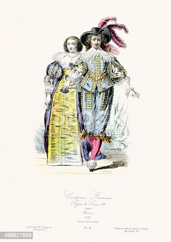 Vintage engraving of French costumes during the Reign of Louis XIII, 1633. Modes et costumes historiques 1864