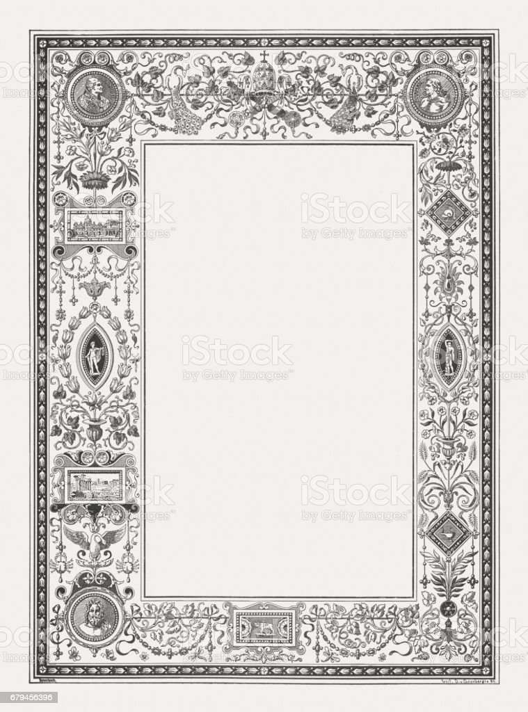 Renaissance ornament frame with Roman motifs, wood engraving, published 1884 vector art illustration