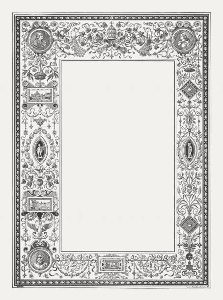 renaissance ornament frame with roman motifs, wood engraving, published 1884 - renaissance style stock illustrations, clip art, cartoons, & icons