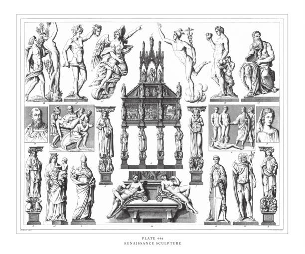 Renaissance Sculpture Engraving Antique Illustration, Published 1851 Renaissance Sculpture Engraving Antique Illustration, Published 1851. Source: Original edition from my own archives. Copyright has expired on this artwork. Digitally restored. moses religious figure stock illustrations