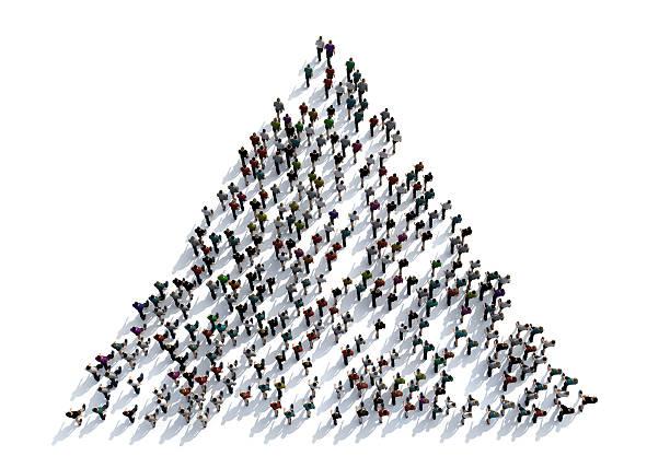 3D render crowd of people vector art illustration