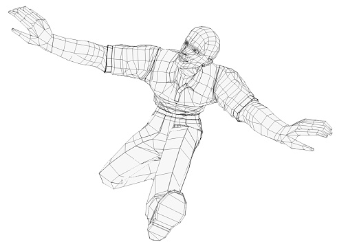 Render Of A Jumping Man