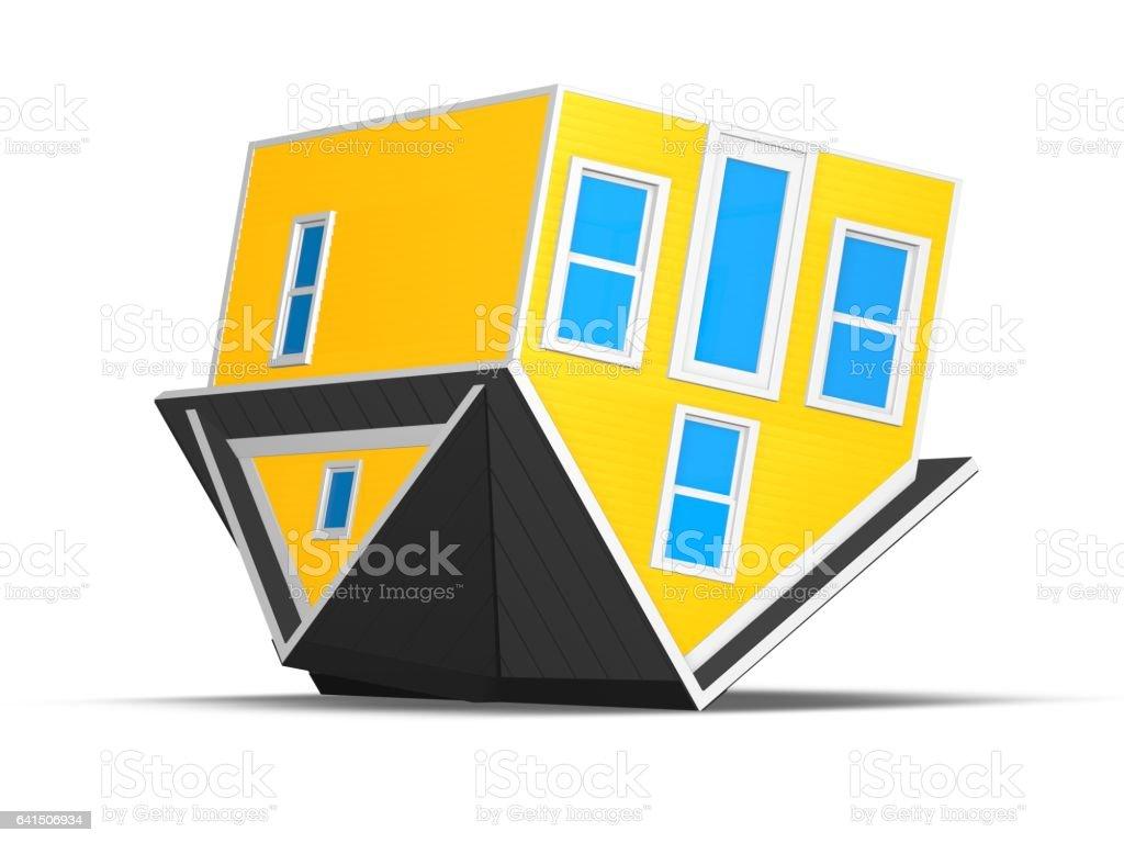 3D Rendered Illustration of a tiny home over white. vector art illustration