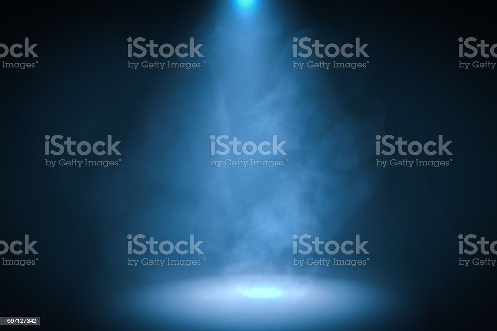 3D rendered illustration of blue spotlight background with smoke. vector art illustration