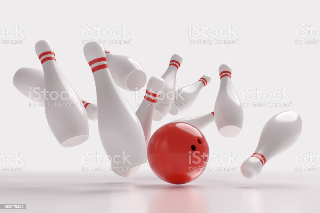 3D rendered illustration of bowling ball knocking down pins (Strike). White background. - ilustración de arte vectorial