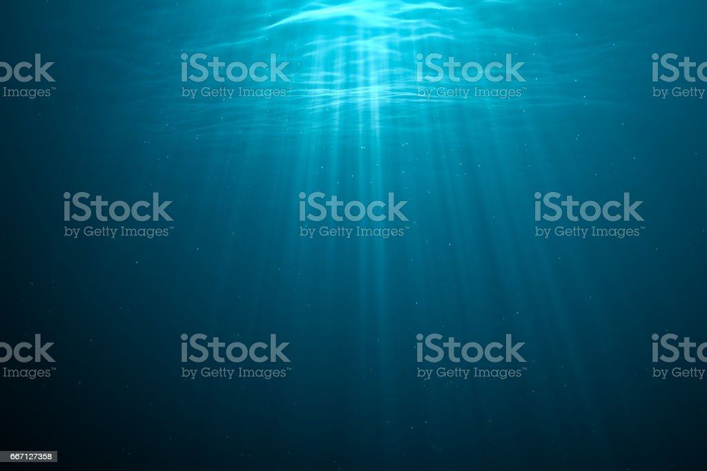 3D rendered illustration of light rays underwater. - ilustración de arte vectorial