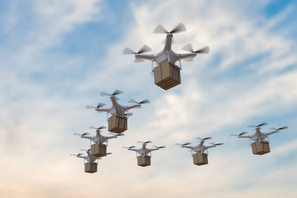illustrazioni stock, clip art, cartoni animati e icone di tendenza di 3d rendered illustration of many drones flying in the sky and delivering packages. - drone