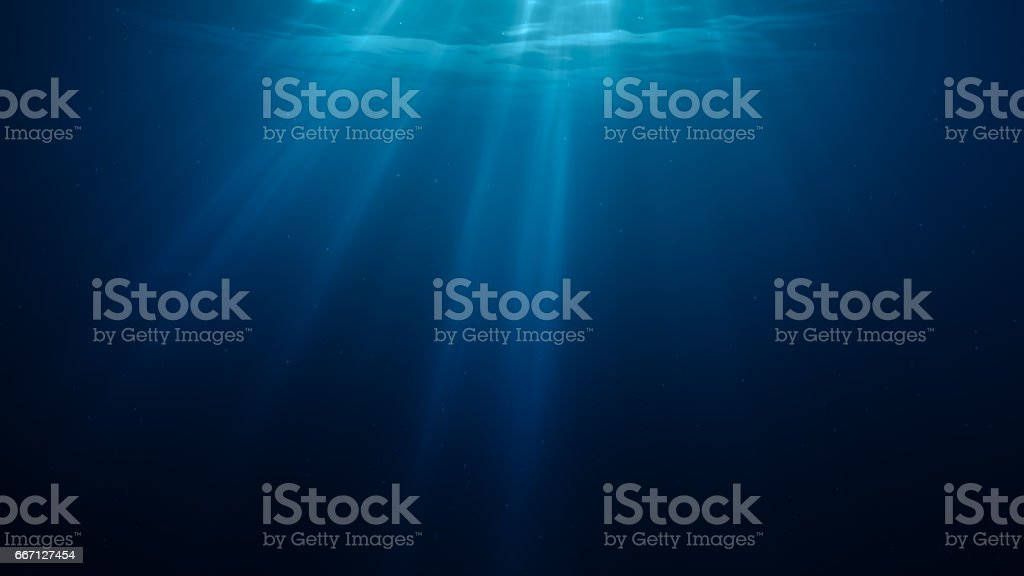 3D rendered illustration of sun light rays under water. vector art illustration