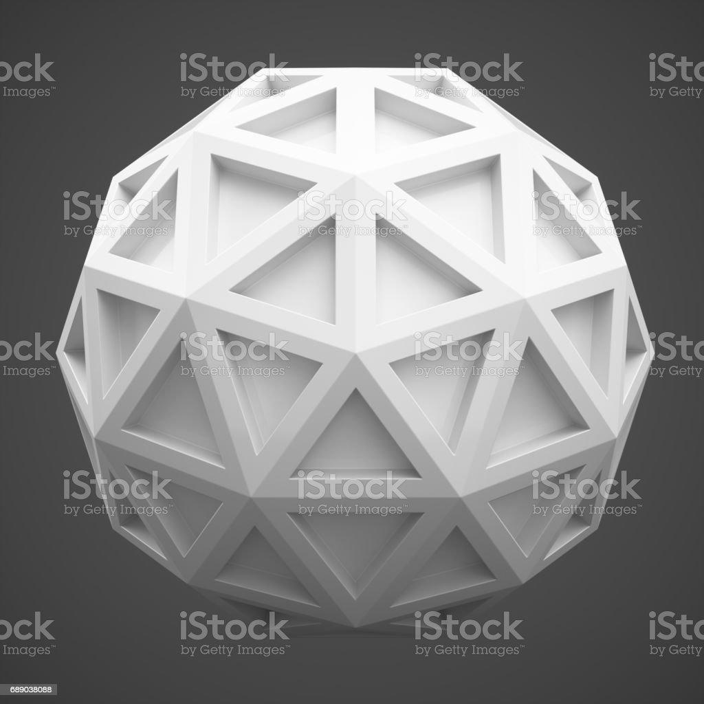 3D Rendering abstract sphere on dark grey background vector art illustration