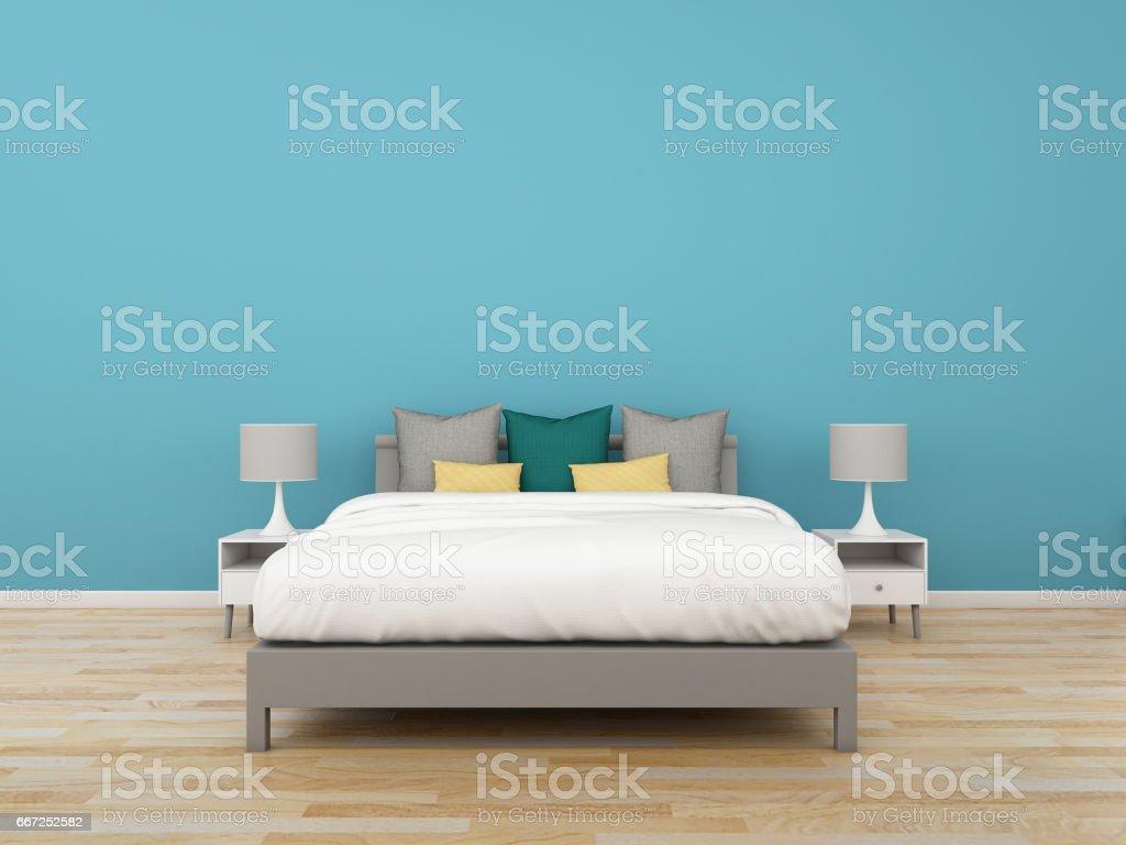 3D Rendering bedroom on colorful background, interior illustration vector art illustration