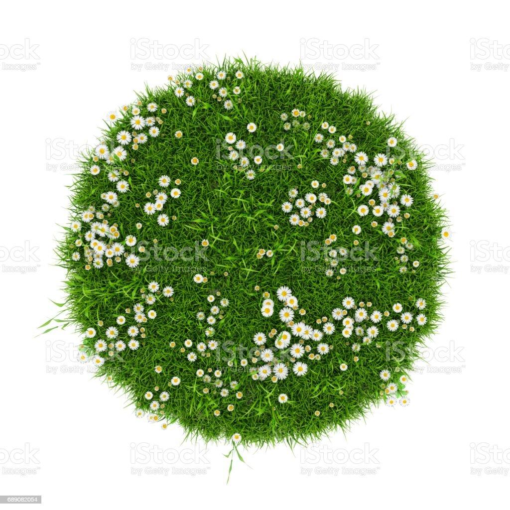 Campo de hierba verde de renderizado 3D aislado sobre fondo blanco - ilustración de arte vectorial