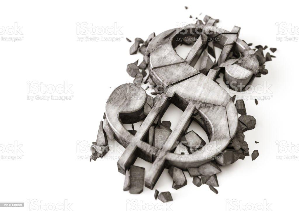 3D rendering of destroyed stone dollar symbol on a white background vector art illustration