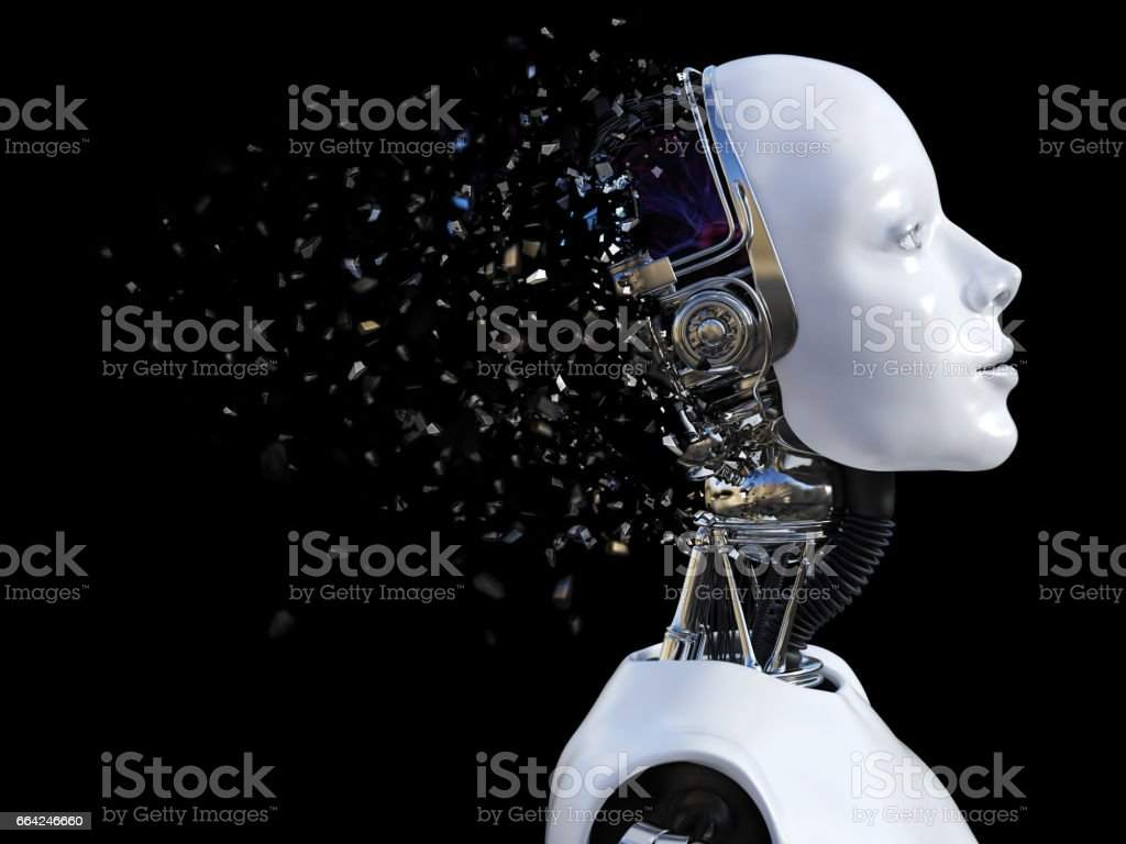 3D rendering of female robot head that shatters. vector art illustration