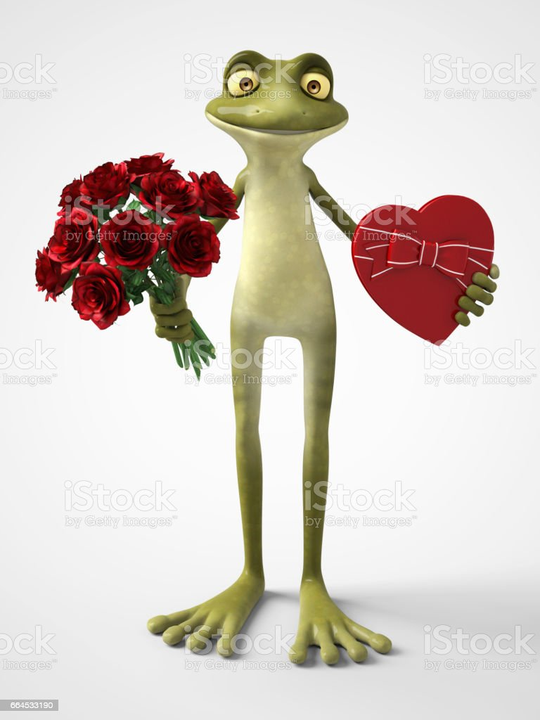 3D rendering of romantic cartoon frog holding a bouquet of roses and a chocolate box. royalty-free 3d rendering of romantic cartoon frog holding a bouquet of roses and a chocolate box stock vector art & more images of amphibian