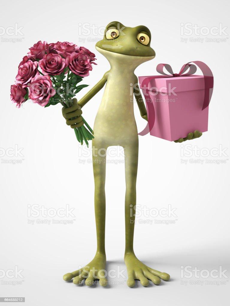 3D-Rendering des romantischen Cartoon Frosch hält einen Strauß Rosen und ein Geschenk. - Lizenzfrei Amphibie Stock-Illustration