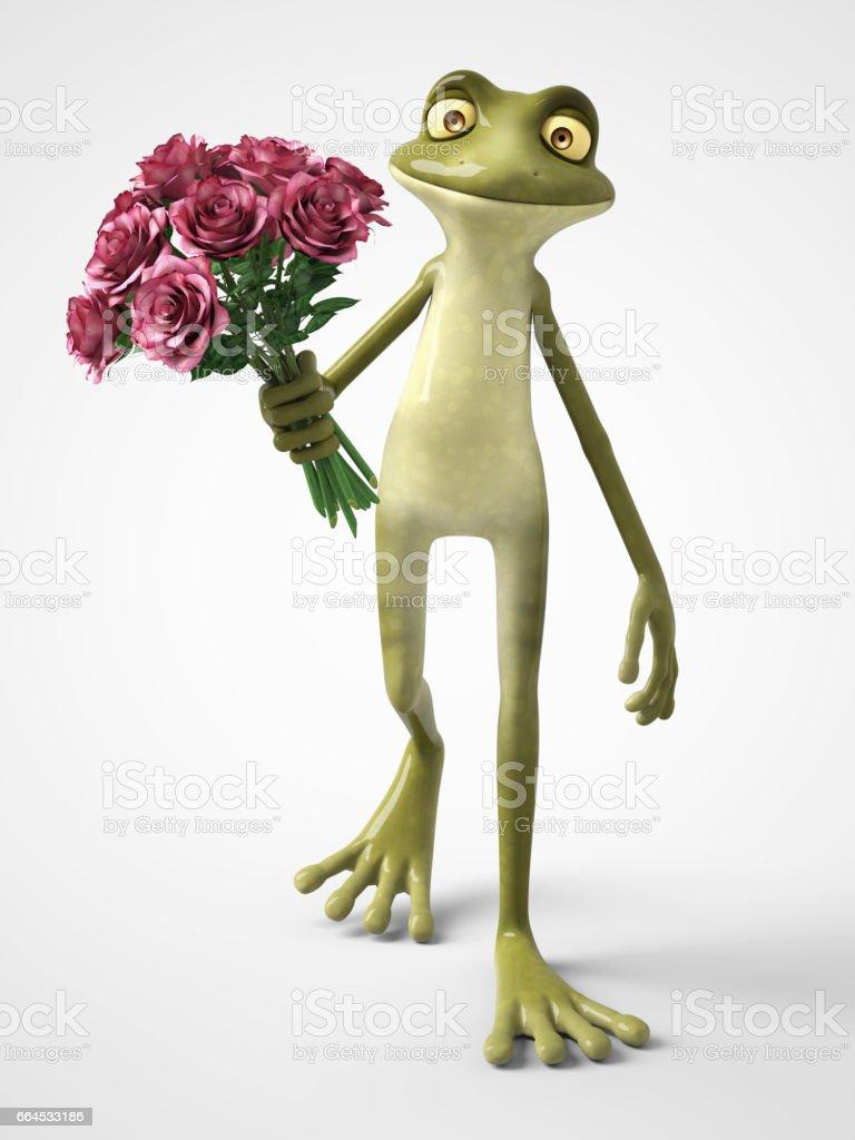 3D-Rendering des romantischen Cartoon Frosch hält einen Strauß Rosen. - Lizenzfrei Amphibie Stock-Illustration