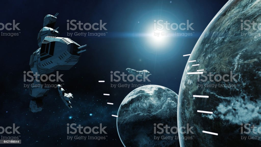 3D rendering of spaceship in battle a cosmic scene vector art illustration