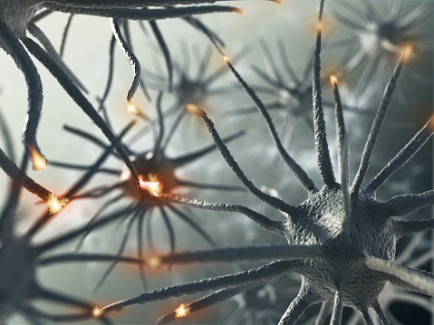 3D rendering representing interaction between brain neurons