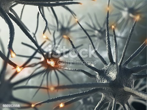 3D rendering representing interaction between brain neurons.