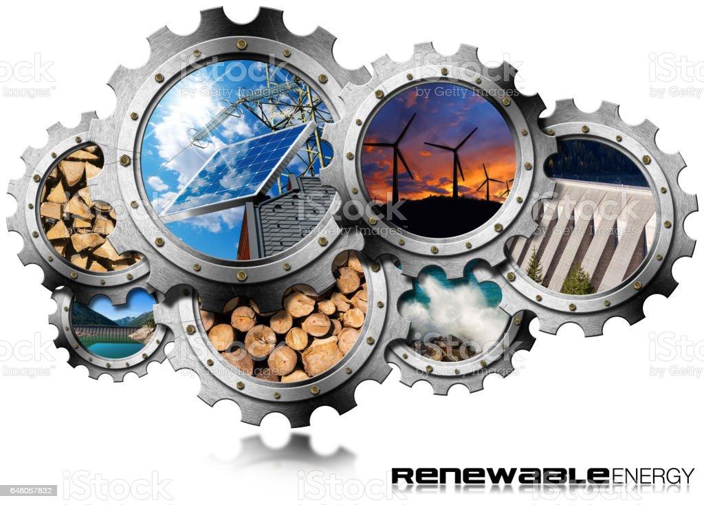 renewable energy concept metal gears stock vector art more images of alternative energy. Black Bedroom Furniture Sets. Home Design Ideas
