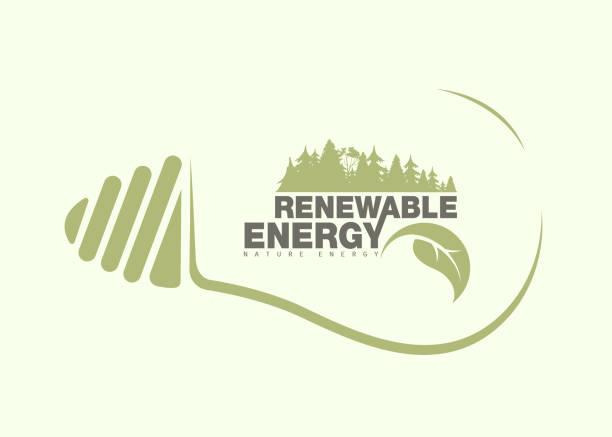 Énergie renouvelable de la terre dans le bulbe. Le concept - Illustration vectorielle