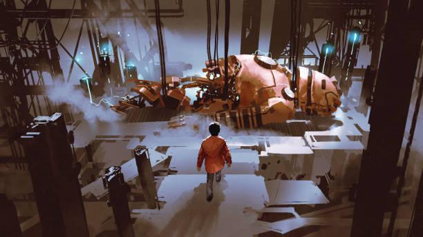 repairing the giant robot vector art illustration