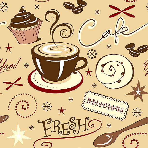 Repeat Pattern Hot Fresh Coffee Shop and Sweets vector art illustration