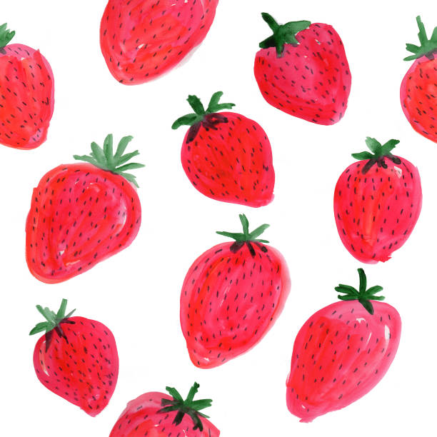 Repeating Strawberry Watercolor Pattern vector art illustration