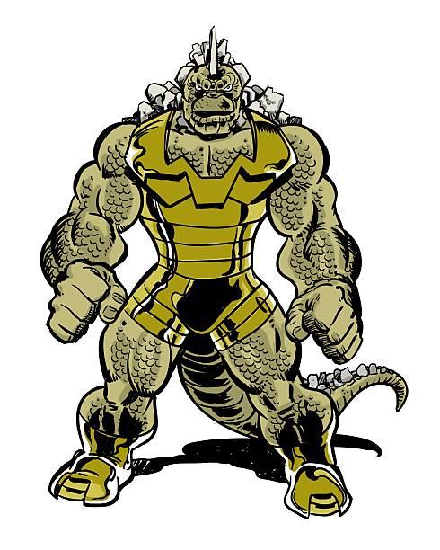 爬虫類の漫画のキャラクターのモンスター、テール - 漫画のモンスター点のイラスト素材/クリップアート素材/マンガ素材/アイコン素材