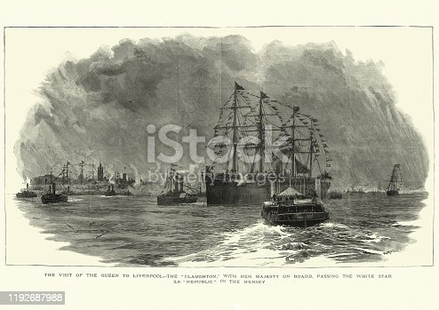 Vintage engraving of SS Republic ocean liner off Liverpool, 19th Century. The SS Republic was an ocean liner built in 1871 by Harland and Wolff for White Star Line.