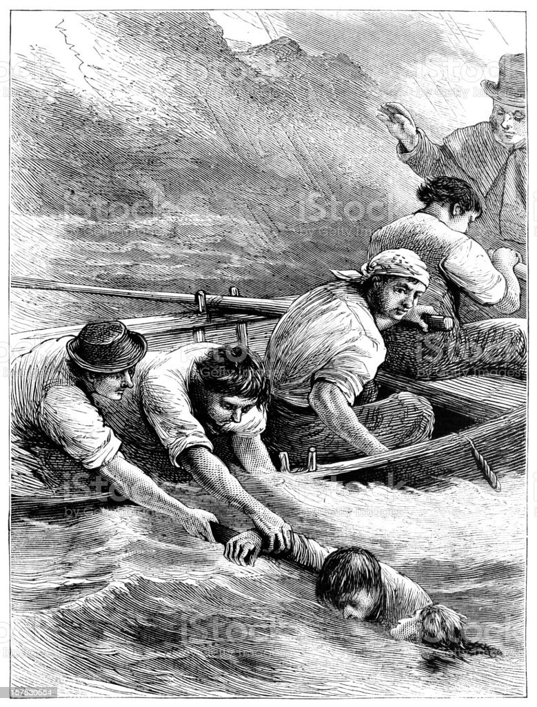 Rescue at sea - Victorian illustration royalty-free rescue at sea victorian illustration stock vector art & more images of 1880
