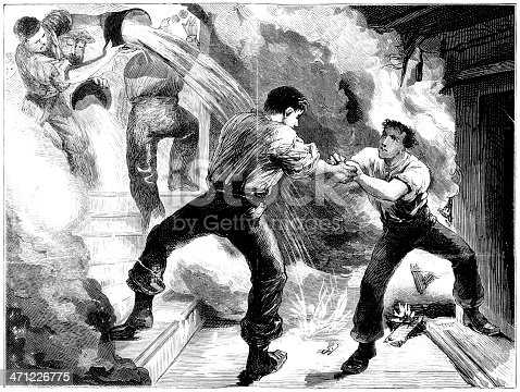 istock Rescue from a fire - Victorian illustration 471226775