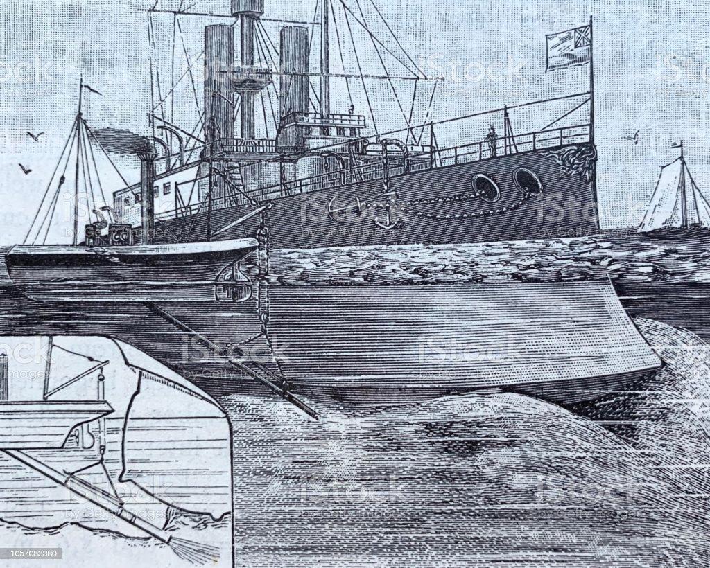 Rescue of a ship run aground vector art illustration