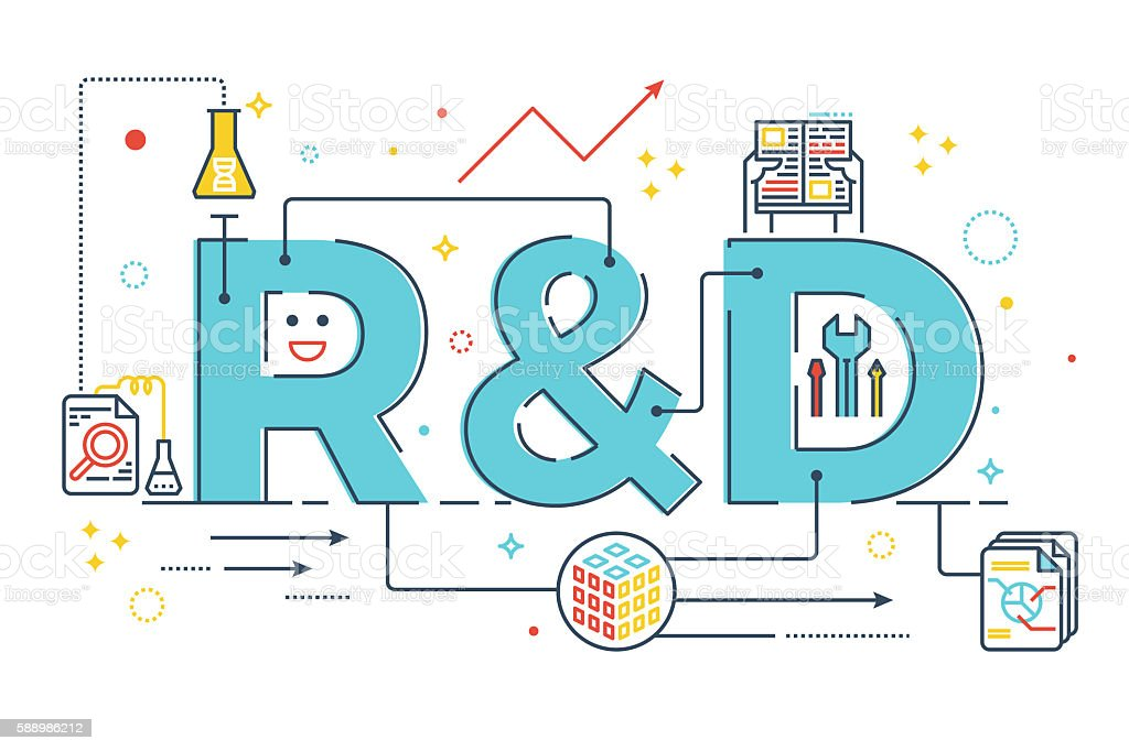 R&D : Research and development word lettering vector art illustration