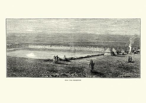 Vintage illustration of Reservoir at Ziza Jordan 19th Century