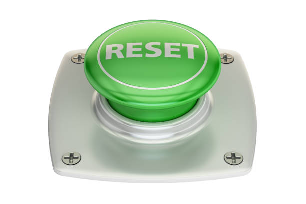 reset green  button, 3D rendering isolated on white background vector art illustration