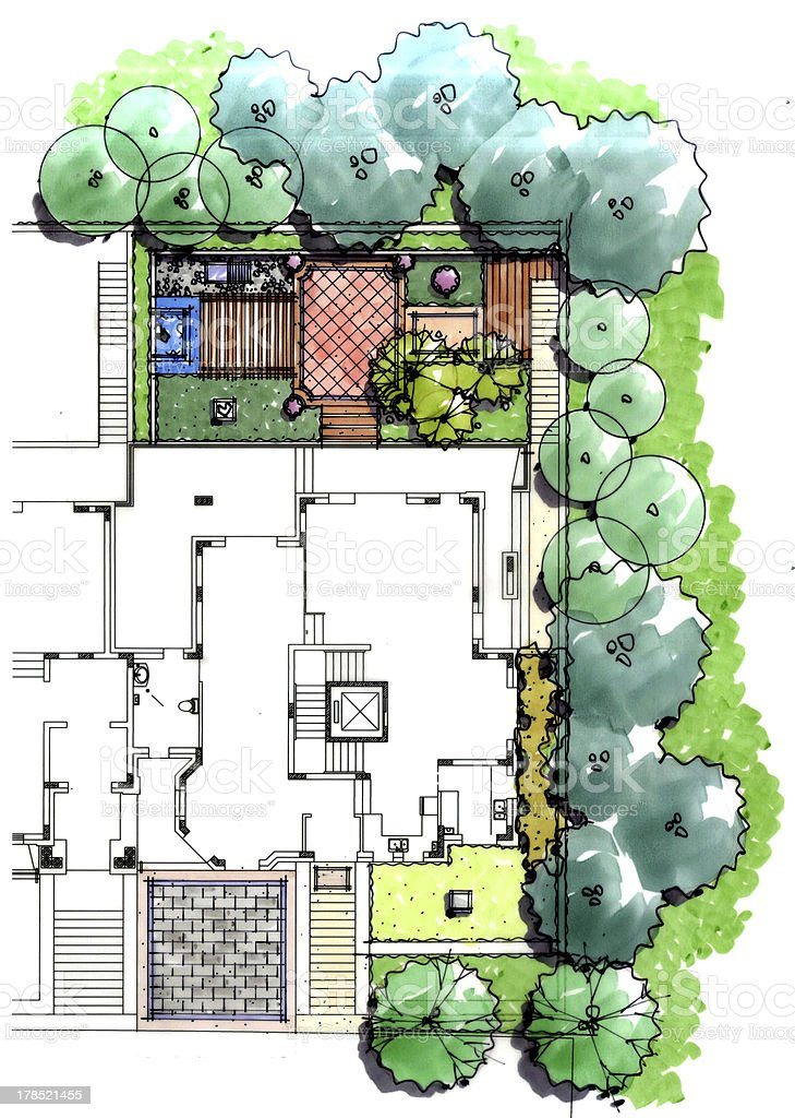 Residential Garden Plan Stock Illustration - Download ...