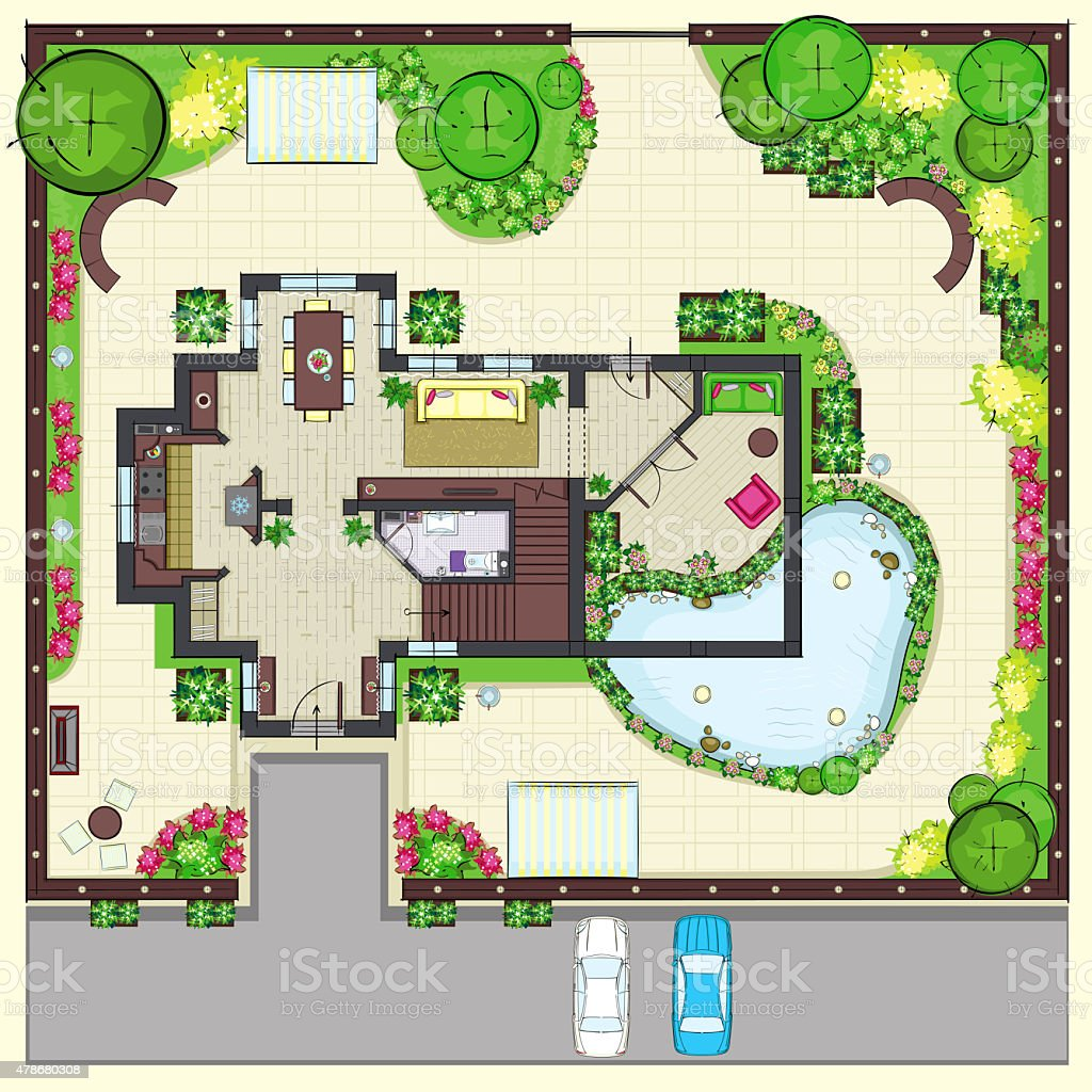 Residential house plan with a beautiful garden Top view vector art illustration