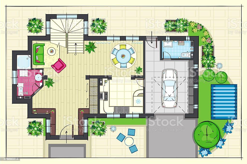 Plan maison haut de gamme avie home Table vue de haut