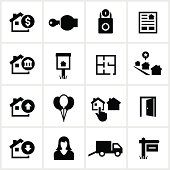 Home real estate related icons. All white strokes/shapes are cut from the icons and merged allowing the background to show through