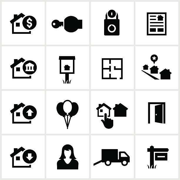 ilustraciones, imágenes clip art, dibujos animados e iconos de stock de íconos de inmobiliaria residencial - embargo hipotecario