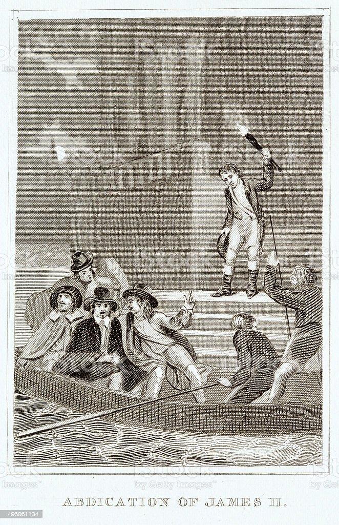 Resignation of King James II of England vector art illustration