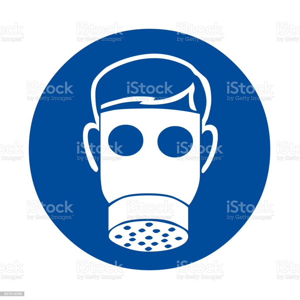 Respirators must be worn in this area safety sign vector art illustration