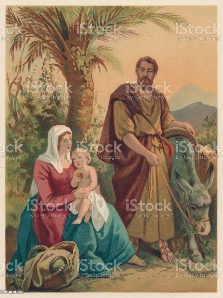 Rest on the Flight into Egypt, chromolithograph, published in 1886 vector art illustration