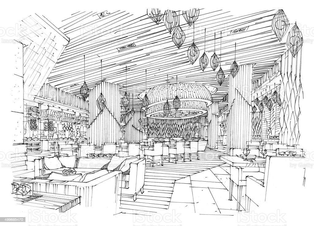 restaurant design of sketch design stock image stock