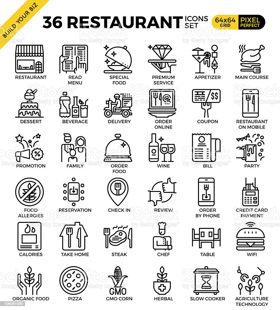 Ilustración de Restaurante Ideal Para Comidas De Negocios Iconos ...