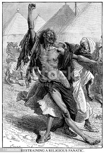 Restraining a religious fanatic - Scanned 1890 Engraving